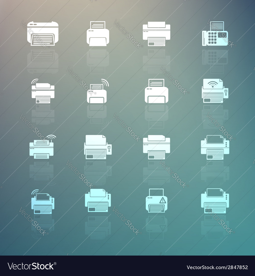 Set of printer icons on retina background vector | Price: 1 Credit (USD $1)