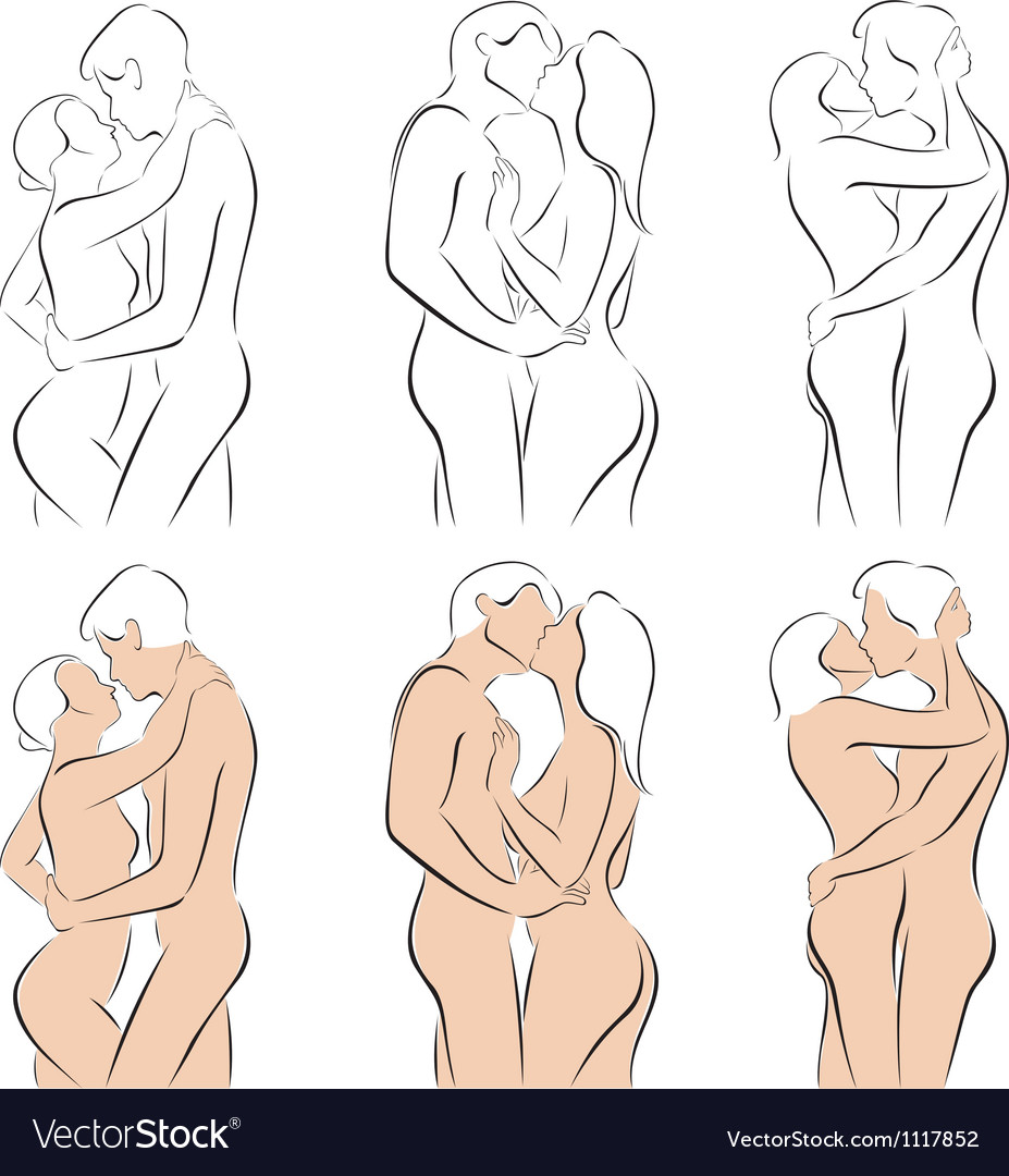 Stylized silhouettes of men and women hugging vector | Price: 3 Credit (USD $3)