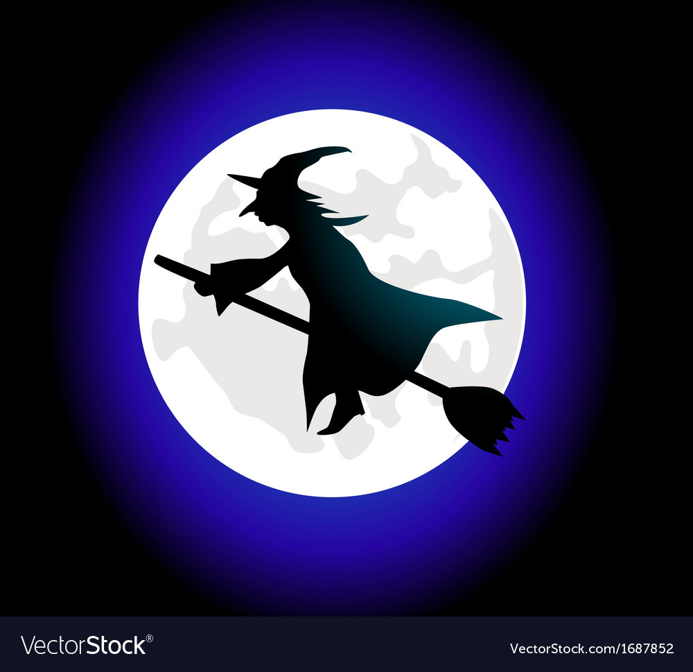 Witch riding broom vector | Price: 1 Credit (USD $1)