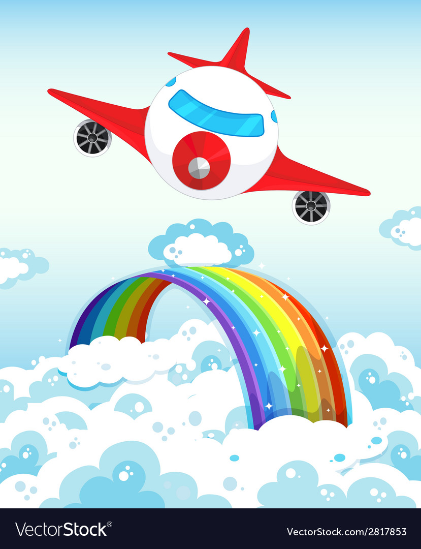Airplane and rainbow vector | Price: 1 Credit (USD $1)