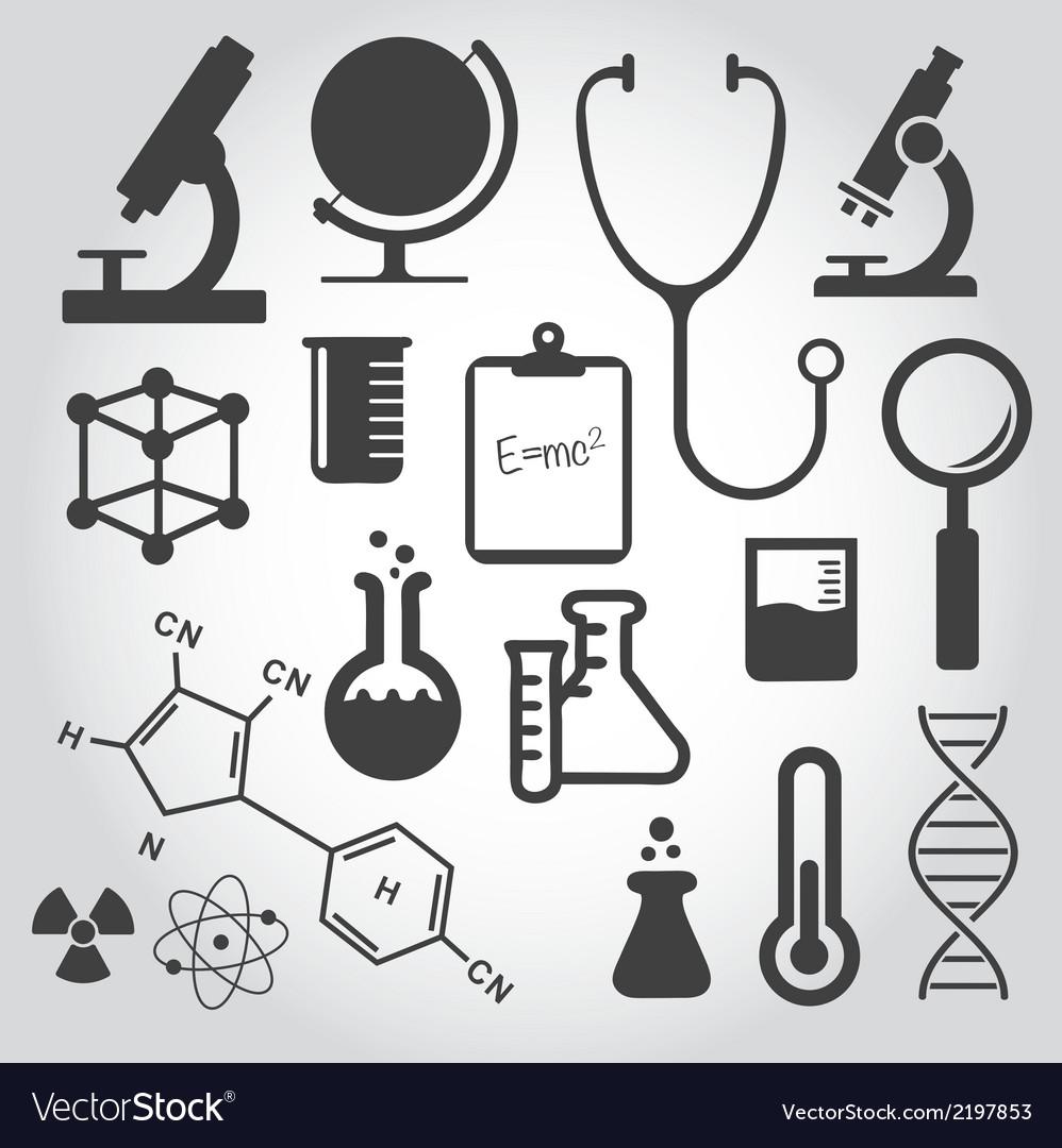 Black science icon set vector | Price: 1 Credit (USD $1)