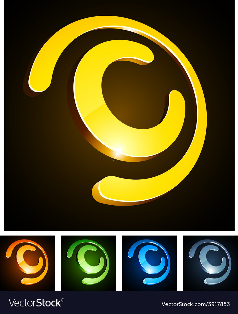 C vibrant emblems vector | Price: 1 Credit (USD $1)