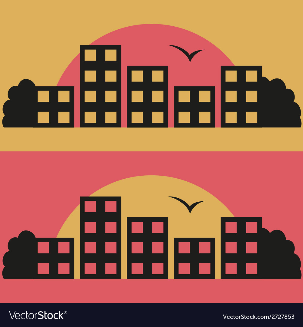 Contrast city on sunrise vector | Price: 1 Credit (USD $1)