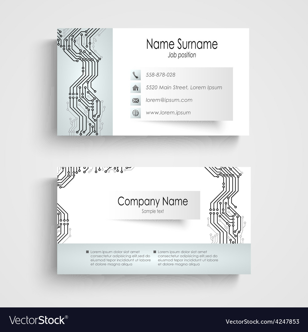 Modern business card with printed circuit board vector | Price: 1 Credit (USD $1)