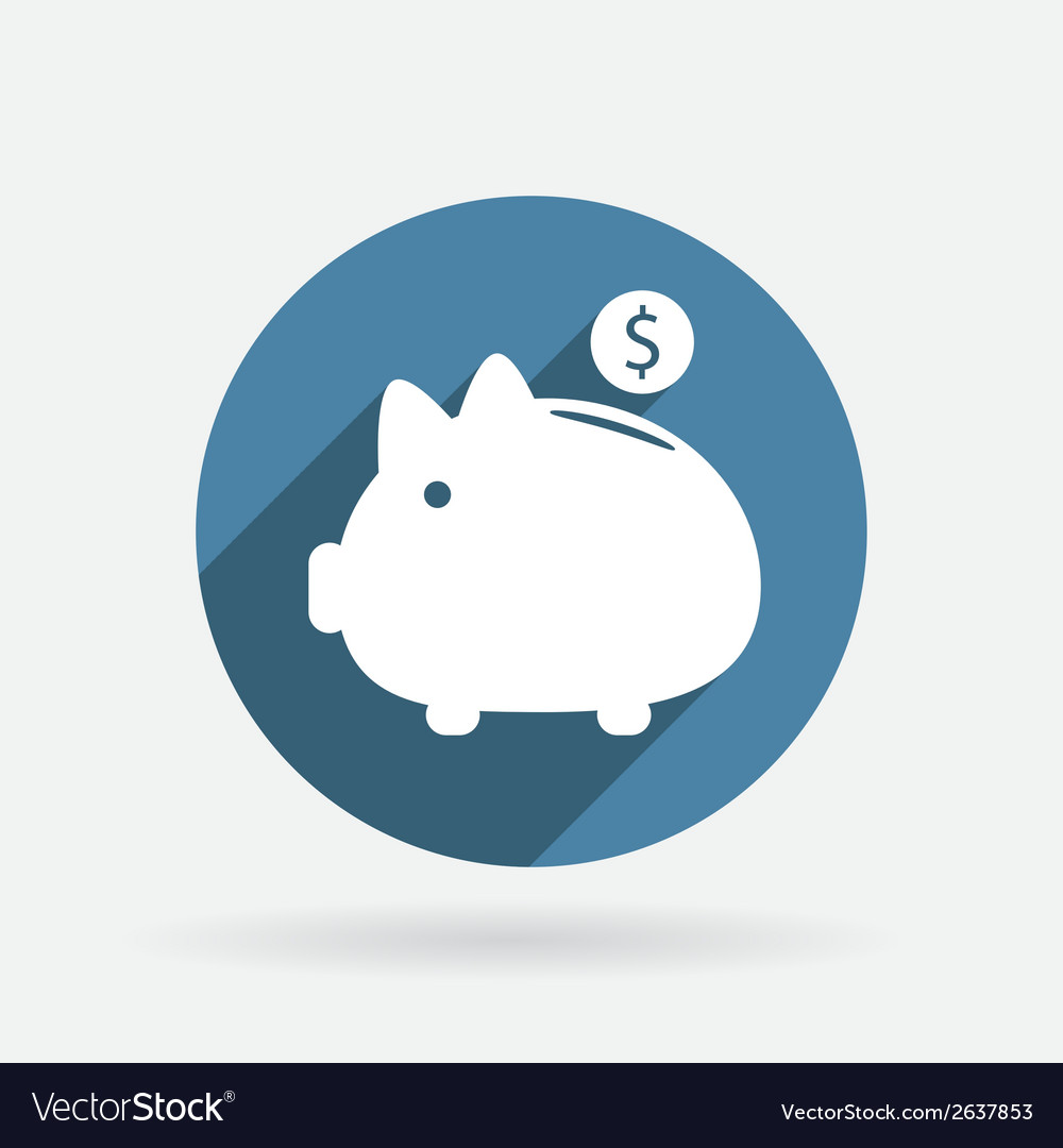 Piggy bank circle blue icon with shadow vector | Price: 1 Credit (USD $1)