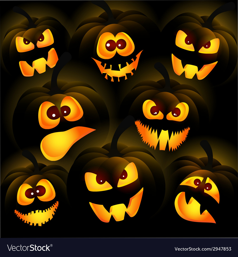 Pumpkins on a dark background vector | Price: 3 Credit (USD $3)