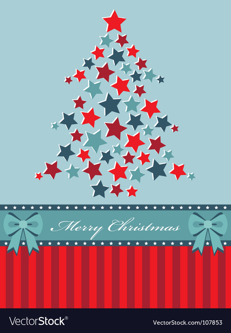 Red and blue christmas tree vector | Price: 1 Credit (USD $1)