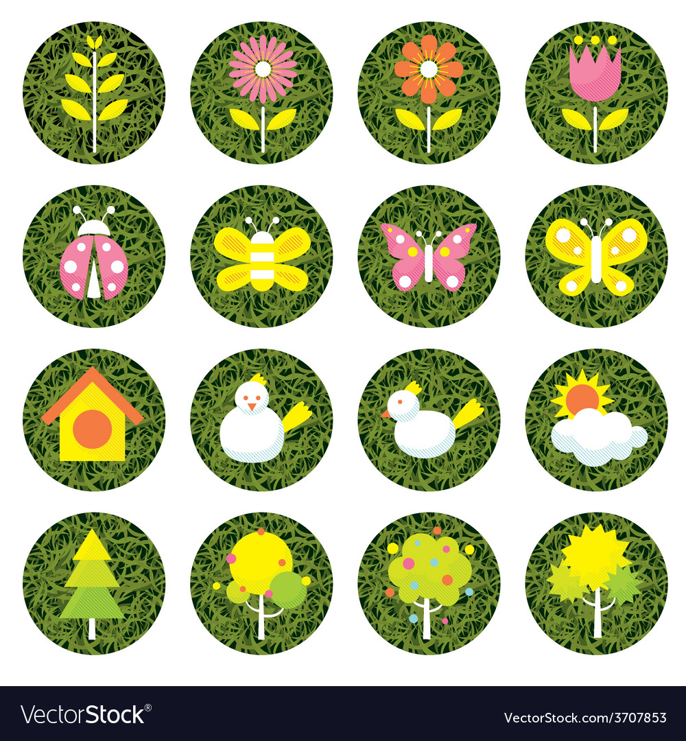 Spring season object icons set vector | Price: 1 Credit (USD $1)