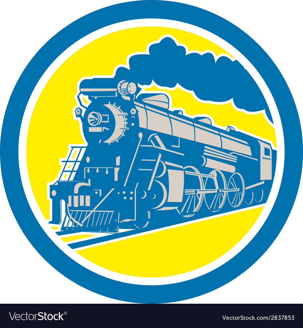 Steam train locomotive circle retro vector | Price: 1 Credit (USD $1)