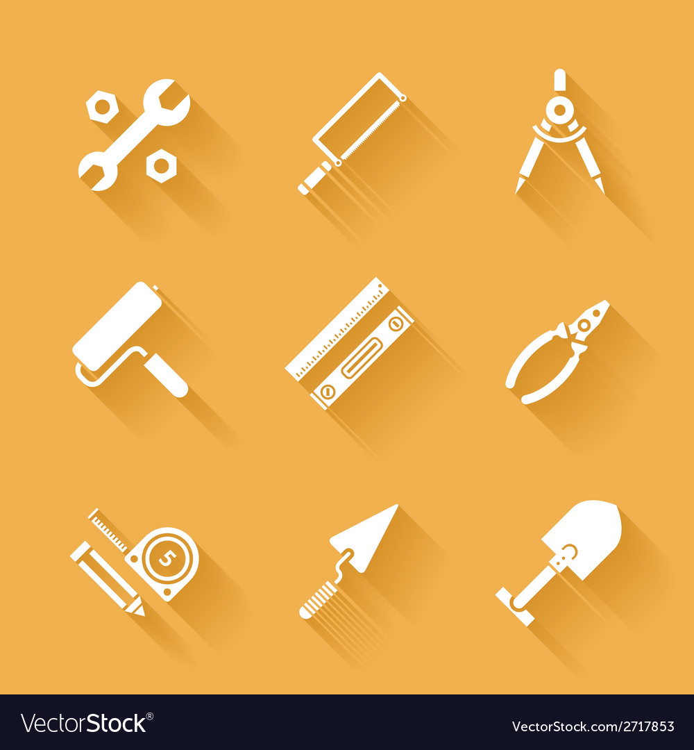 Trendy flat working tools icons vector | Price: 1 Credit (USD $1)