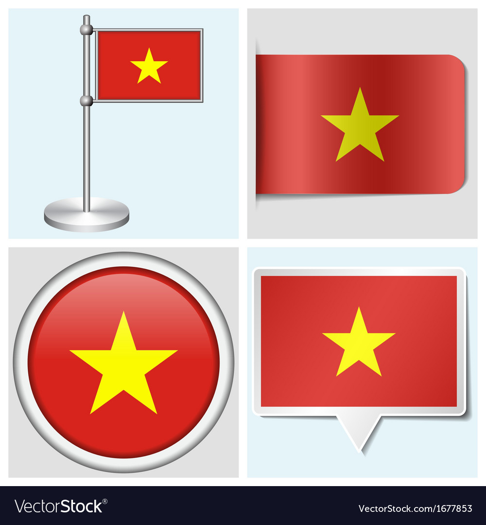 Vietnam flag - sticker button label flagstaff vector | Price: 1 Credit (USD $1)