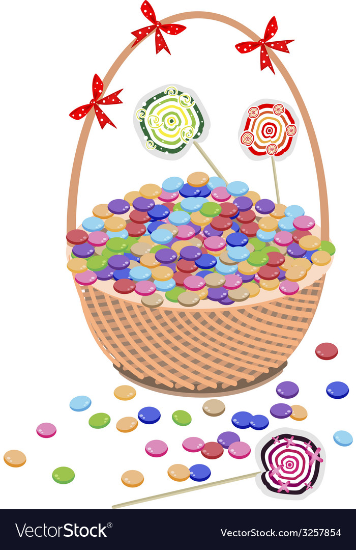 A brown basket of chocolates and lollipops vector | Price: 1 Credit (USD $1)