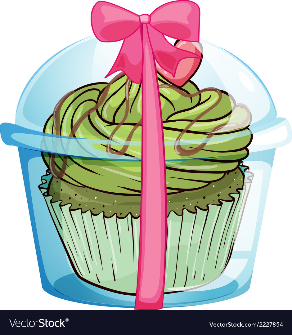 A cupcake container with a cupcake and a pink vector | Price: 1 Credit (USD $1)