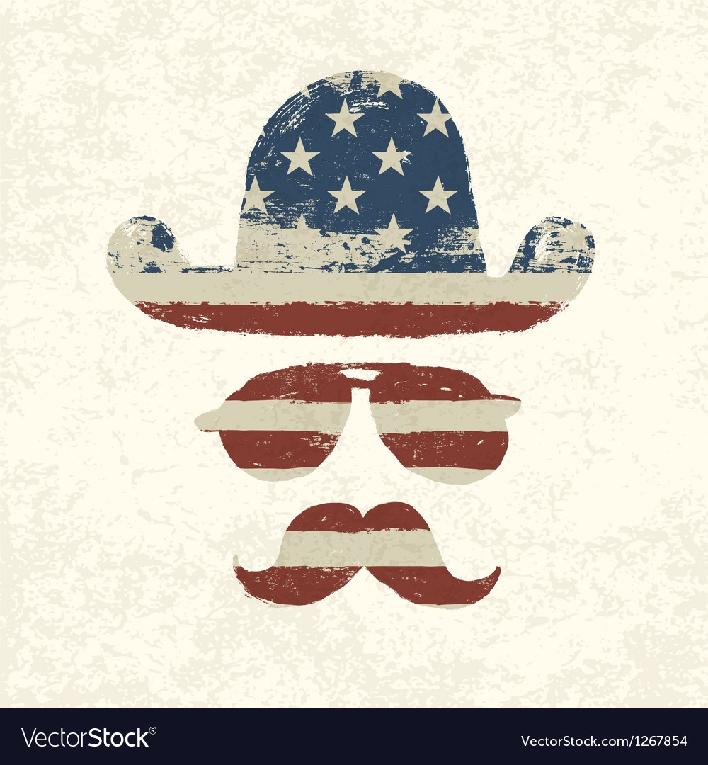 American flag themed retro elements vector | Price: 1 Credit (USD $1)