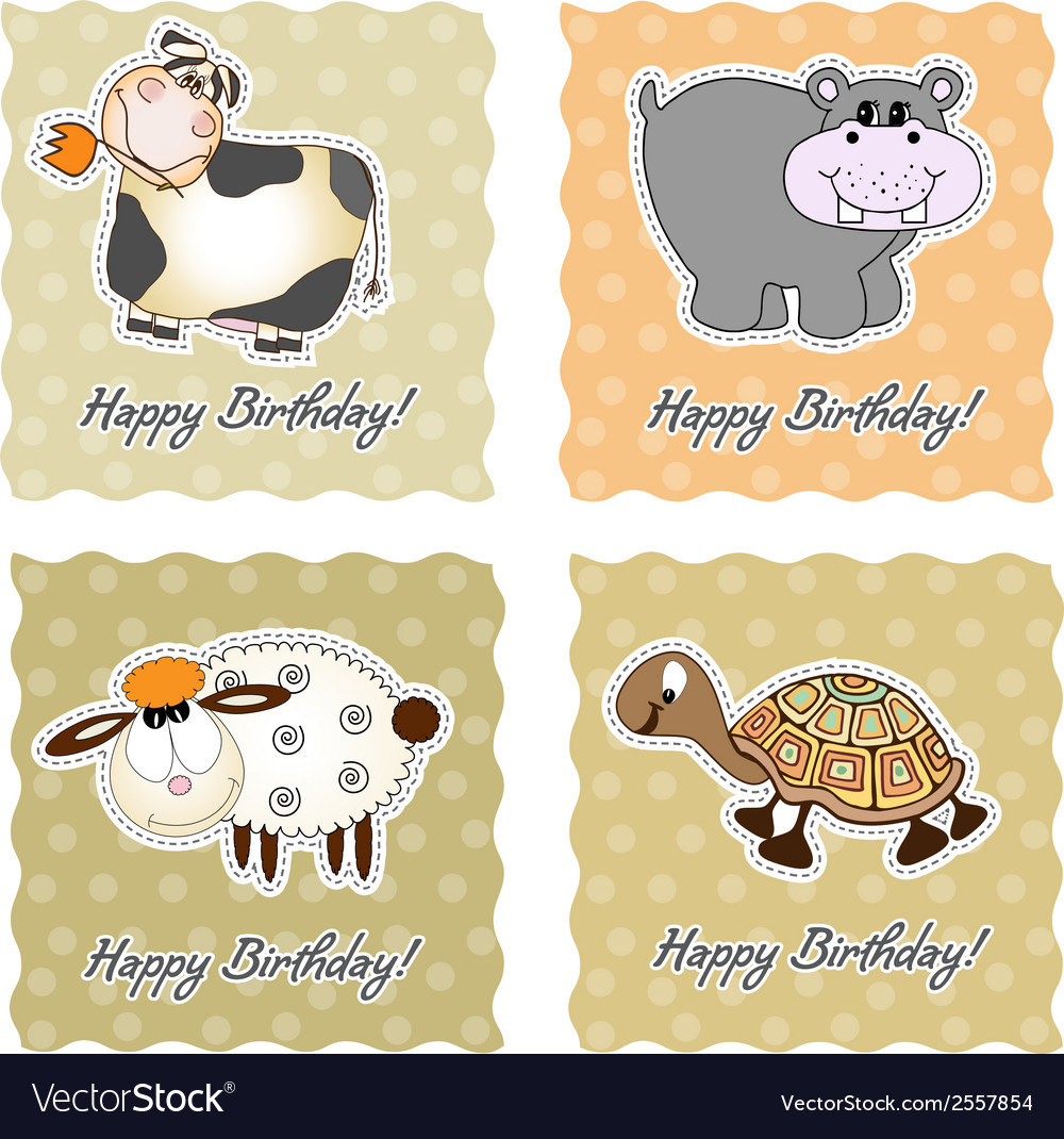 Birthday card set with animals vector | Price: 1 Credit (USD $1)