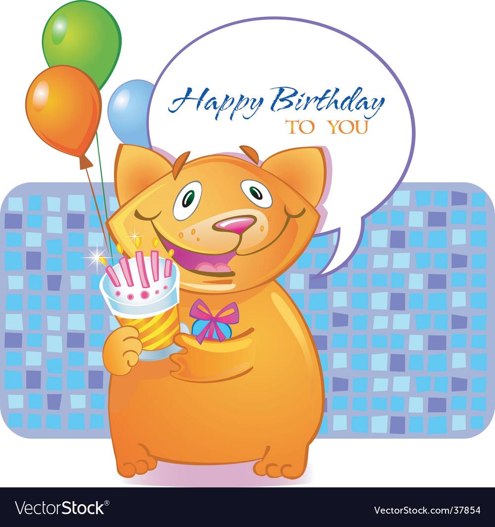 Birthday cat vector