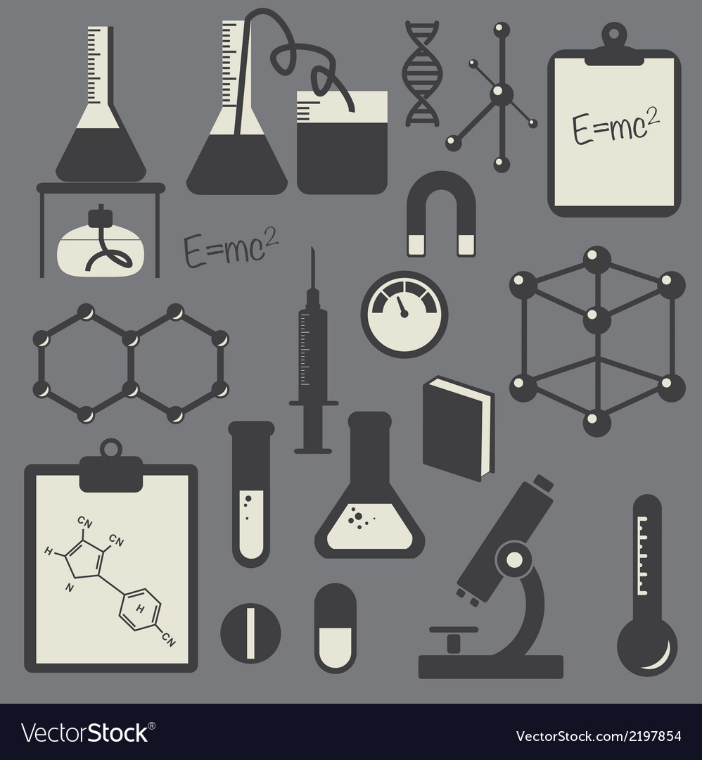 Black science icon set vector | Price: 1 Credit (USD $1)