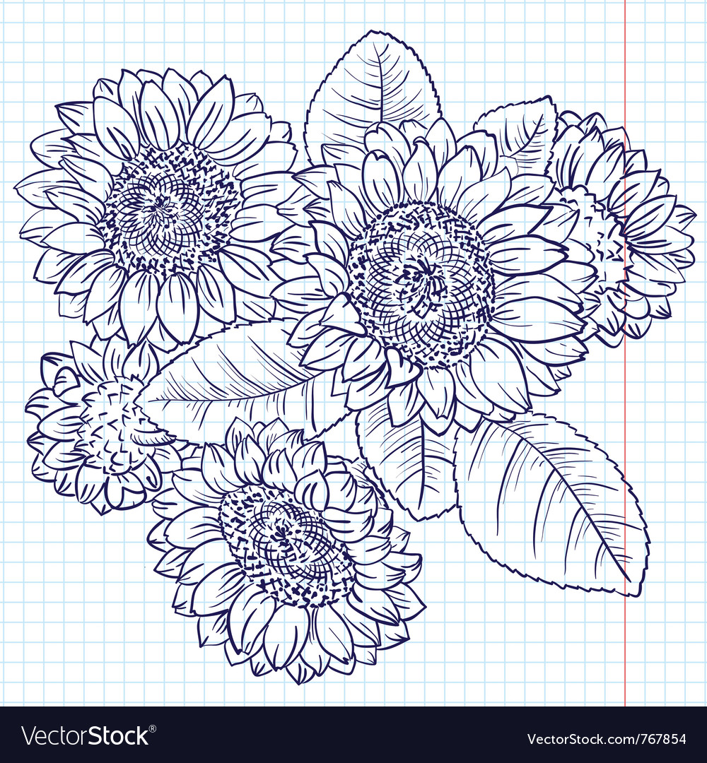 Doodle bouquet of sunflowers vector | Price: 1 Credit (USD $1)