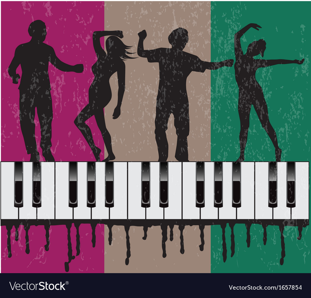 Grunge background with dancing people vector | Price: 1 Credit (USD $1)