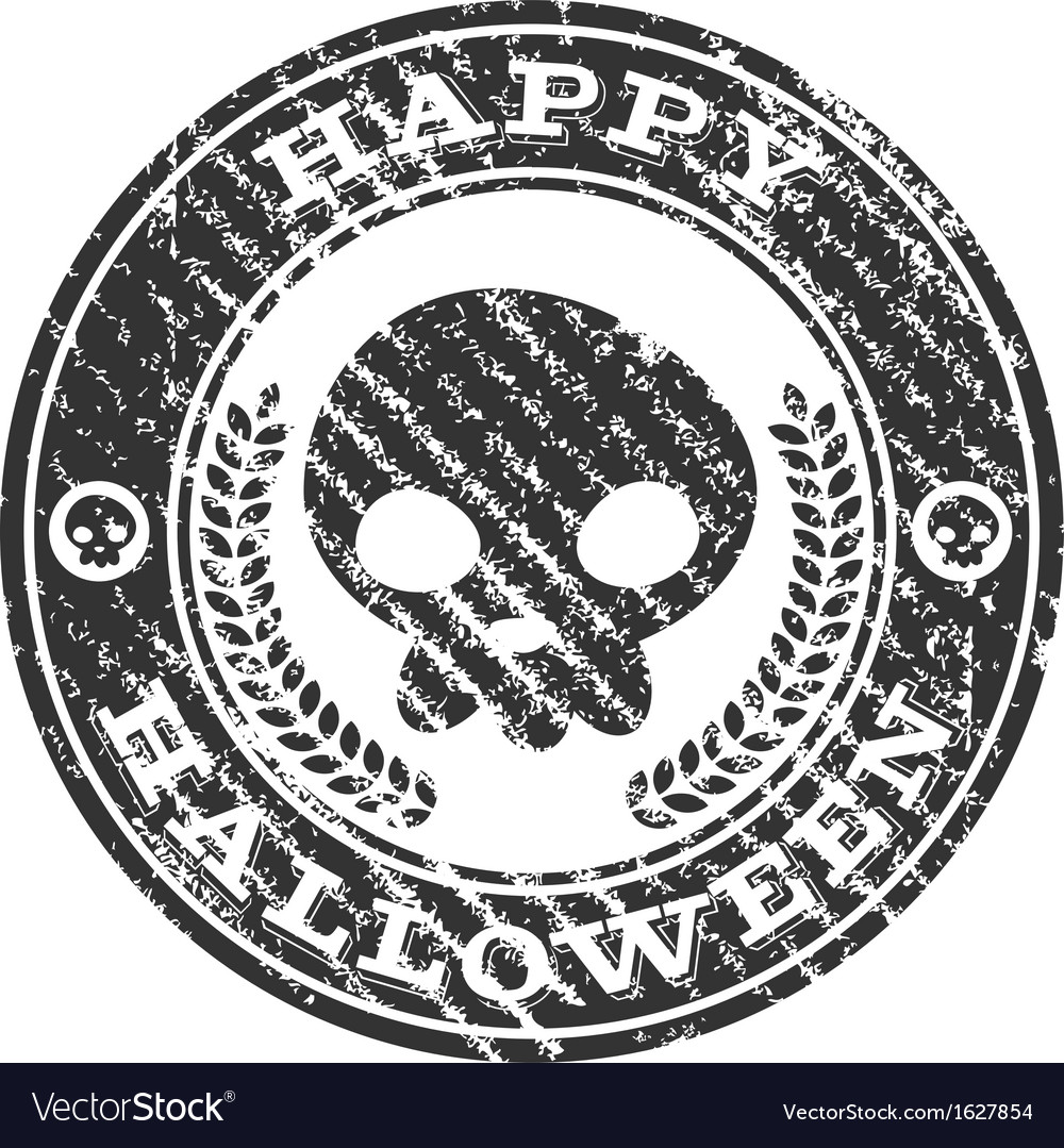 Happy halloween skull rubber stamp vector | Price: 1 Credit (USD $1)