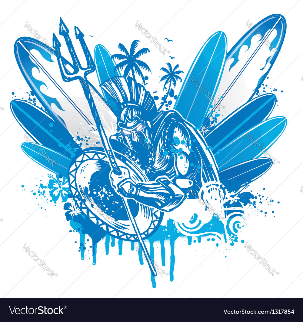 Poseidon surfer vector | Price: 1 Credit (USD $1)