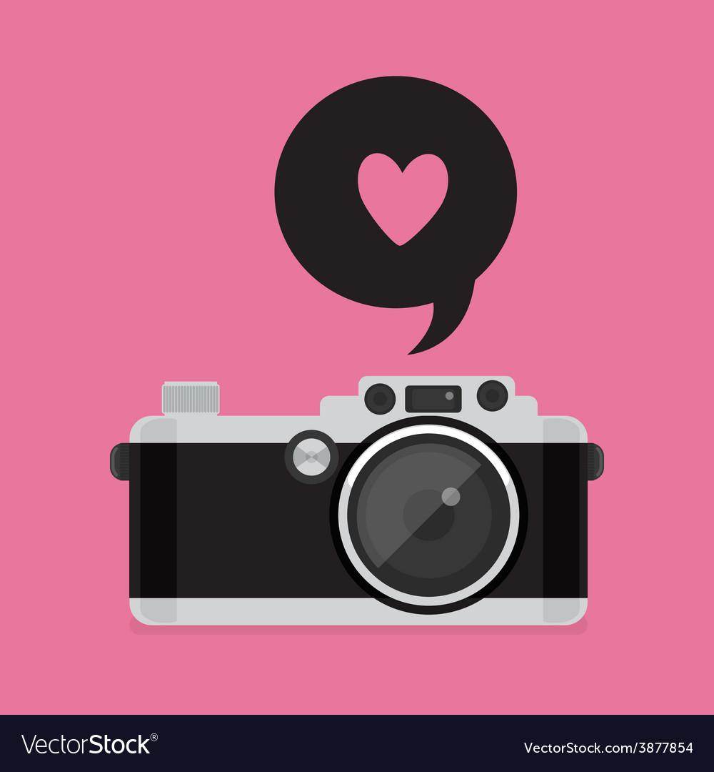 Retro camera icon flat style vector | Price: 1 Credit (USD $1)