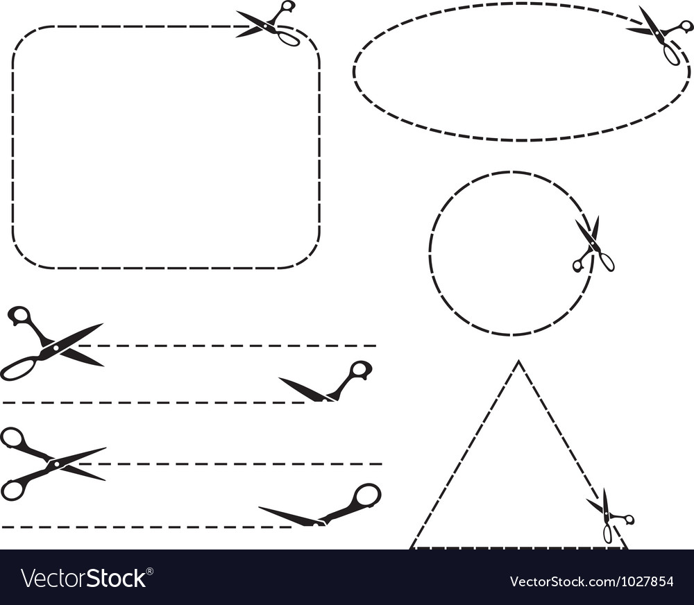 Scissors cut lines vector | Price: 1 Credit (USD $1)