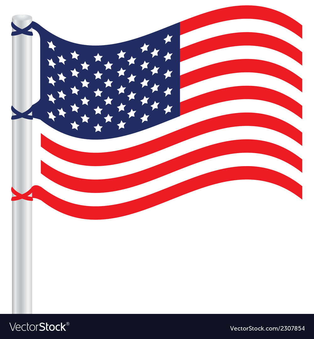 United states flag on a pole vector | Price: 1 Credit (USD $1)
