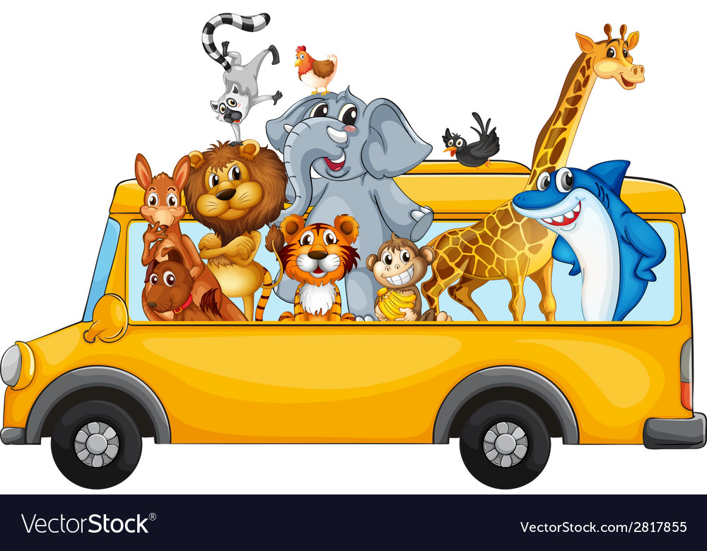Animals on school bus vector | Price: 3 Credit (USD $3)