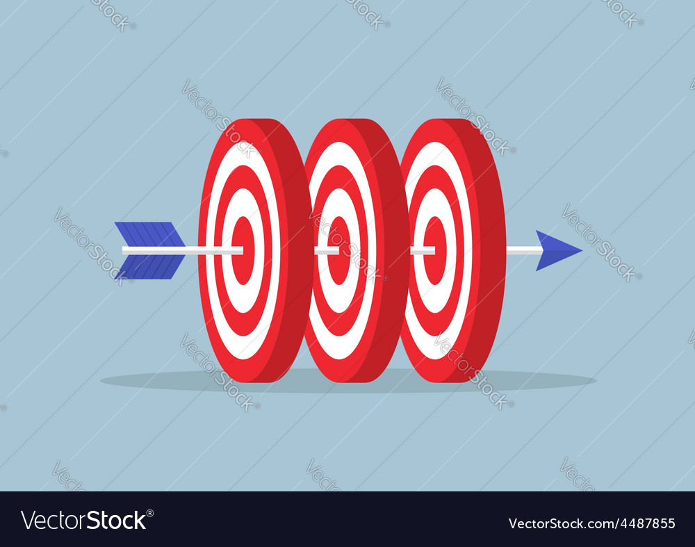 Arrow hitting center of the three targets vector | Price: 1 Credit (USD $1)