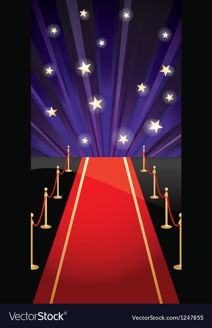 Background with red carpet and stars vector | Price: 1 Credit (USD $1)