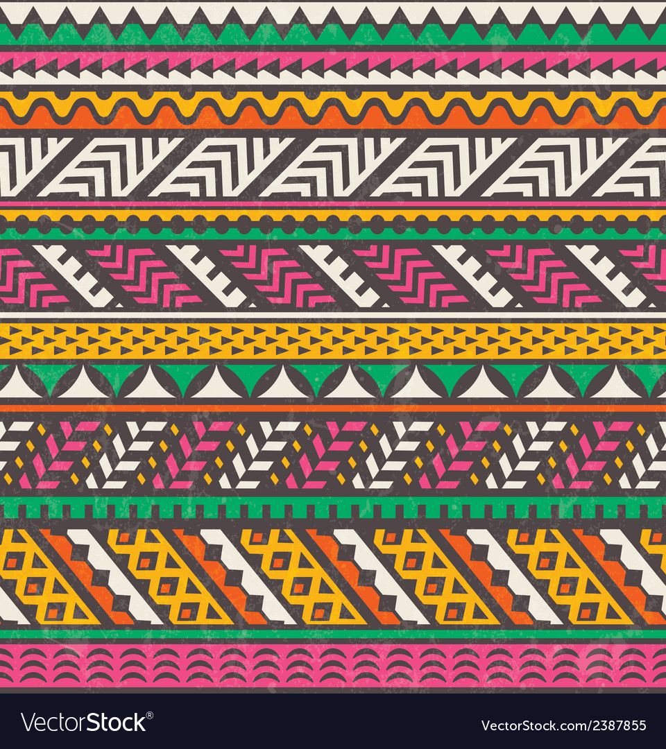 Colorful ethnic print seamless background vector | Price: 1 Credit (USD $1)