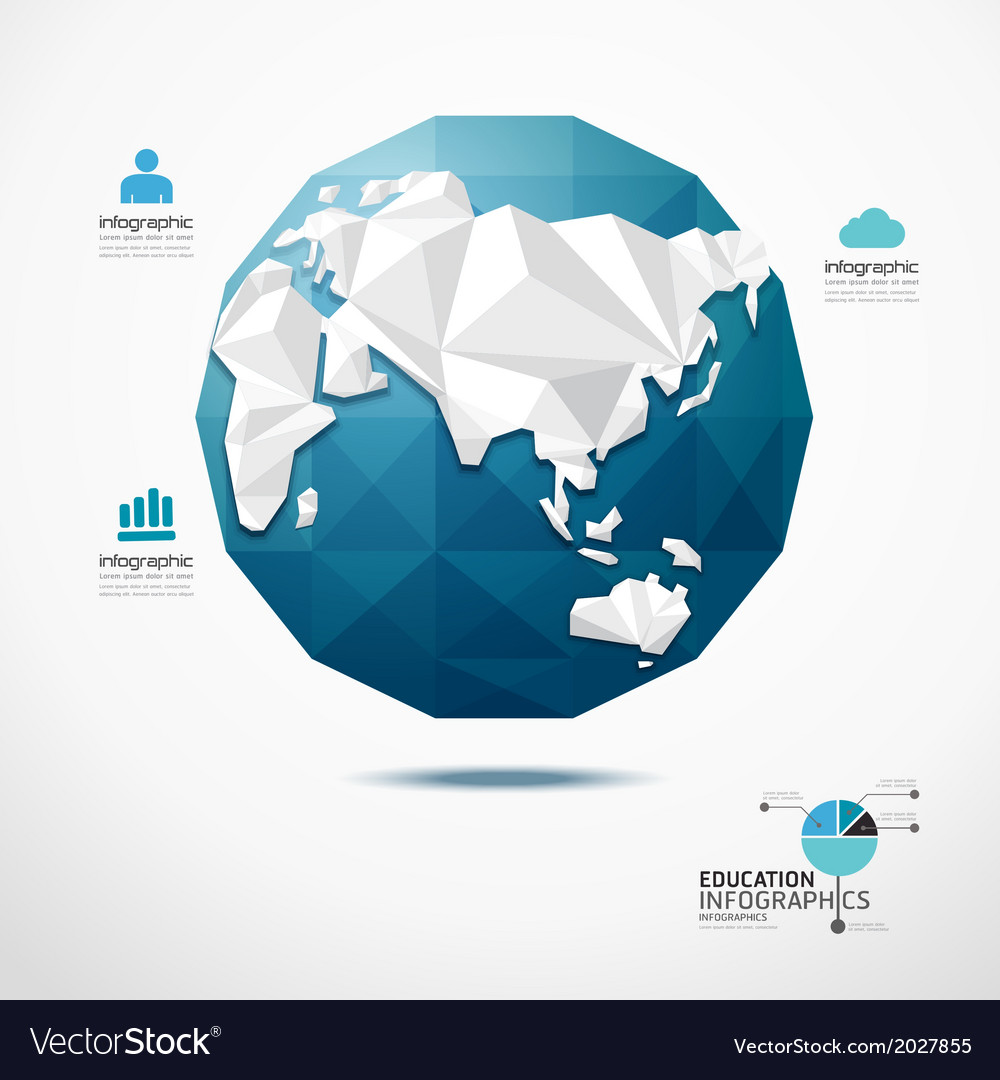 Globe world map infographics geometric concept vector | Price: 1 Credit (USD $1)