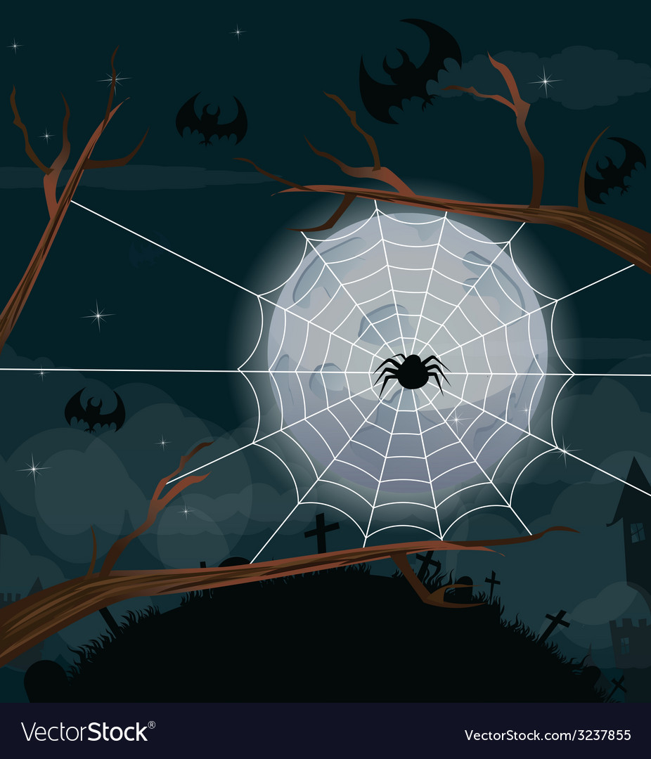 Halloween night background with full moon vector | Price: 1 Credit (USD $1)