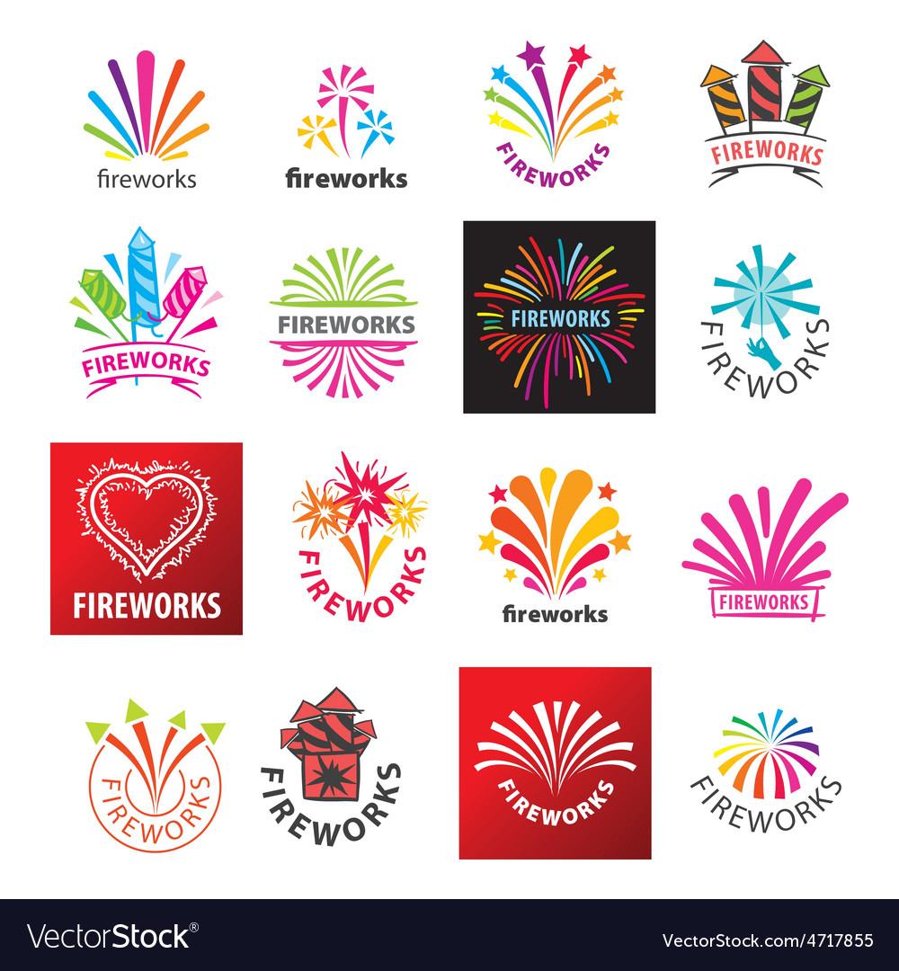 Large set of logos fireworks vector | Price: 1 Credit (USD $1)