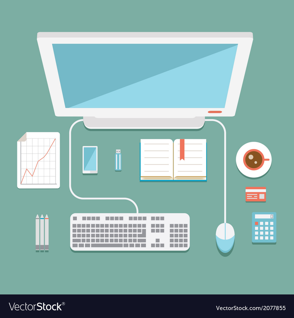 Office workstation in flat style vector | Price: 1 Credit (USD $1)