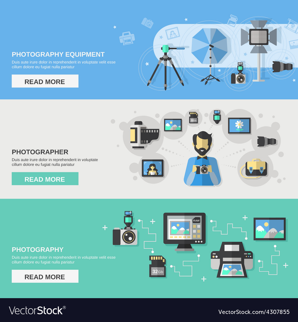 Photography banner set vector | Price: 1 Credit (USD $1)