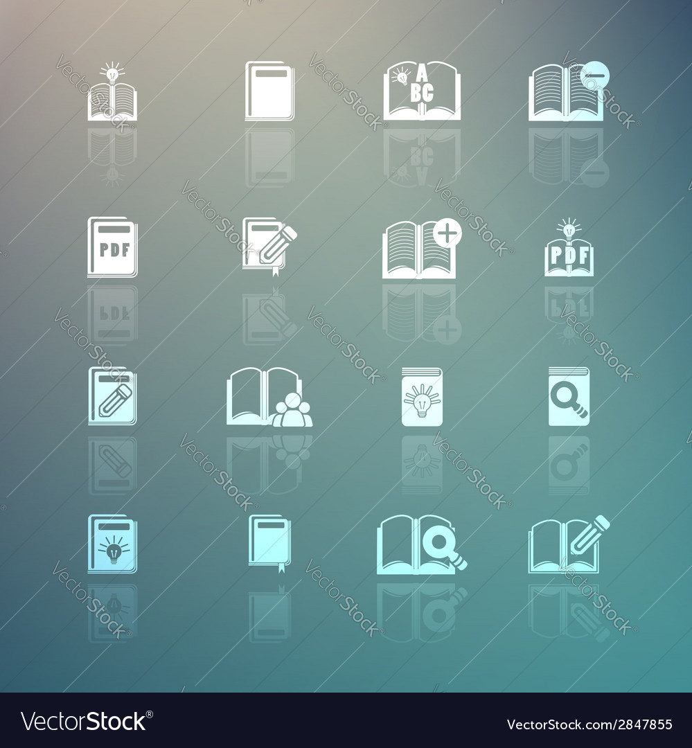 Set of books icons on retina background vector | Price: 1 Credit (USD $1)