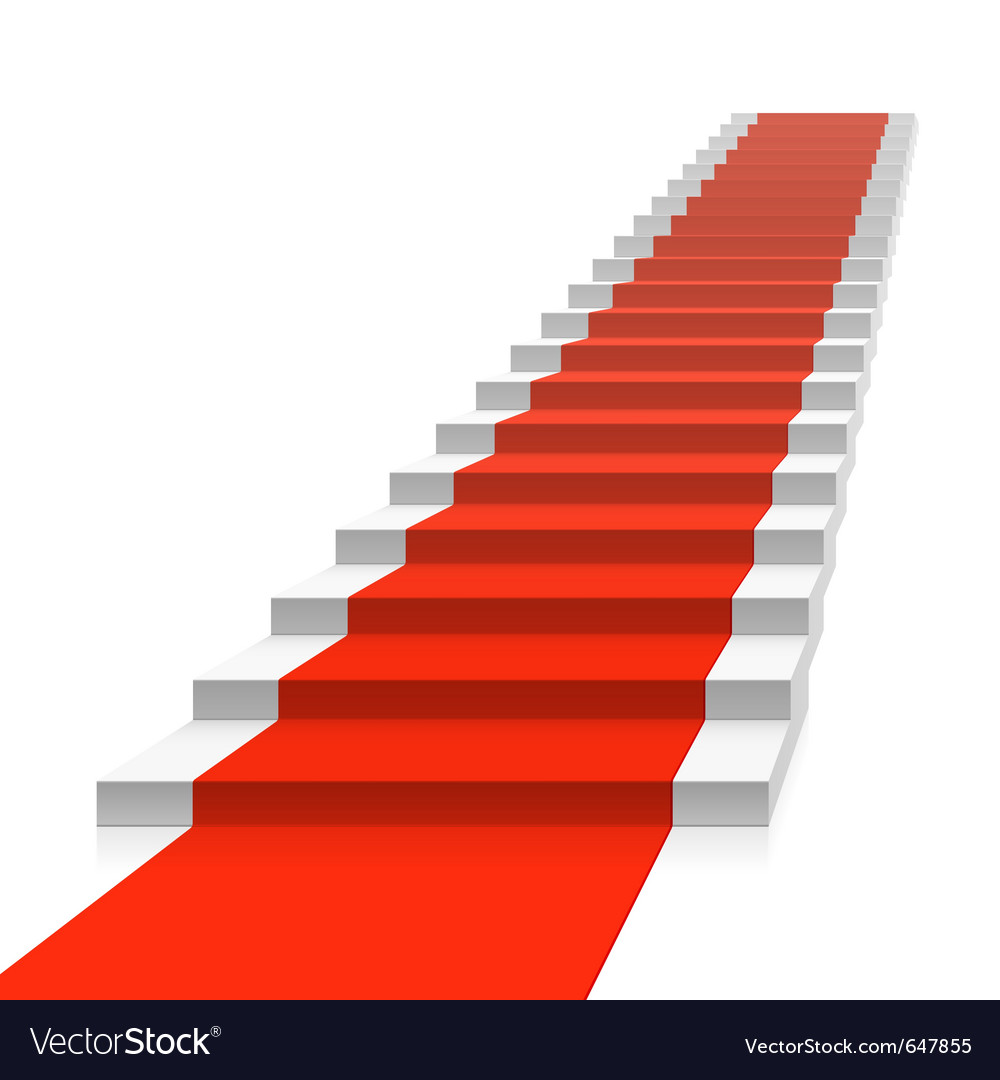 Staircase with red carpet vector | Price: 1 Credit (USD $1)