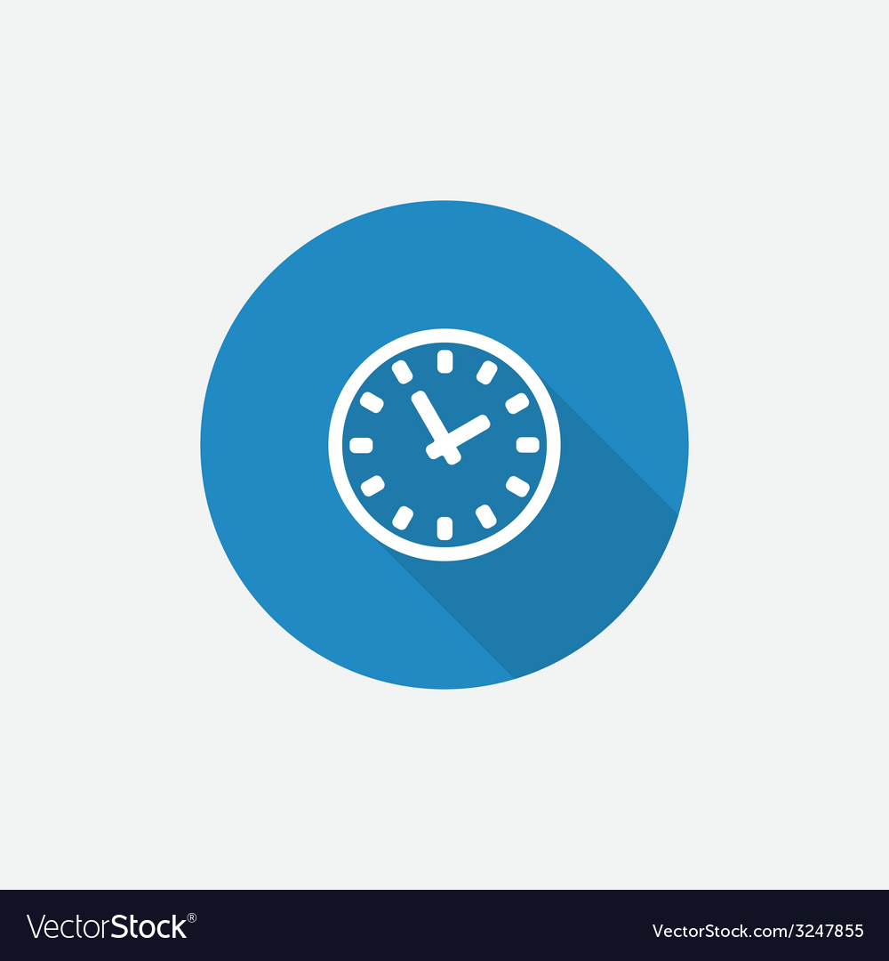 Time flat blue simple icon with long shadow vector | Price: 1 Credit (USD $1)
