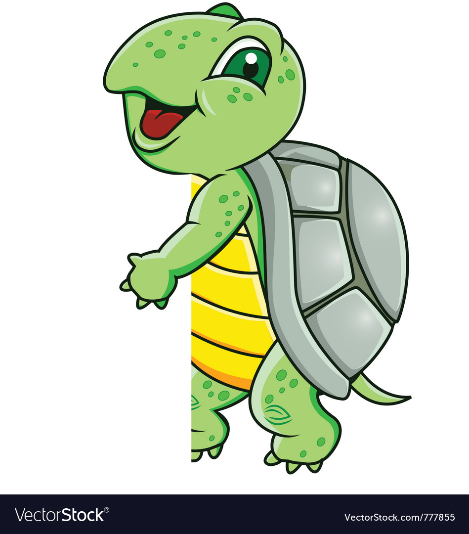 Turtle with blank sign vector | Price: 1 Credit (USD $1)