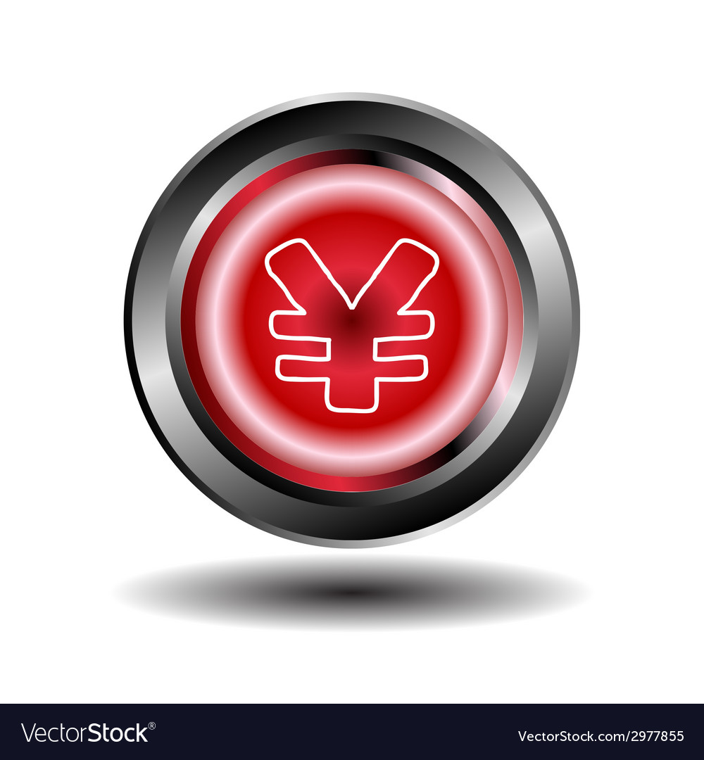 Yen button red glossy web icon vector | Price: 1 Credit (USD $1)