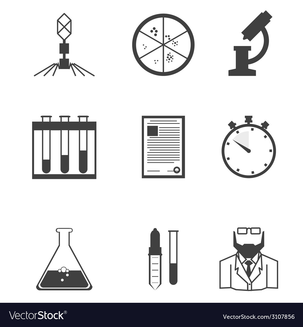 Black icons for microbiology vector | Price: 1 Credit (USD $1)