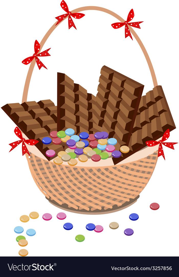 Brown basket of milk chocolate and chocolates bar vector | Price: 1 Credit (USD $1)