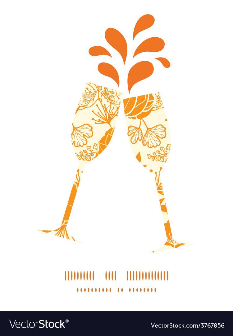 Golden art flowers toasting wine glasses vector | Price: 1 Credit (USD $1)