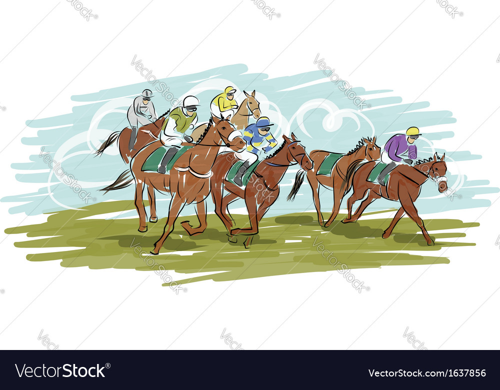 Horse racing sketch for your design vector | Price: 1 Credit (USD $1)