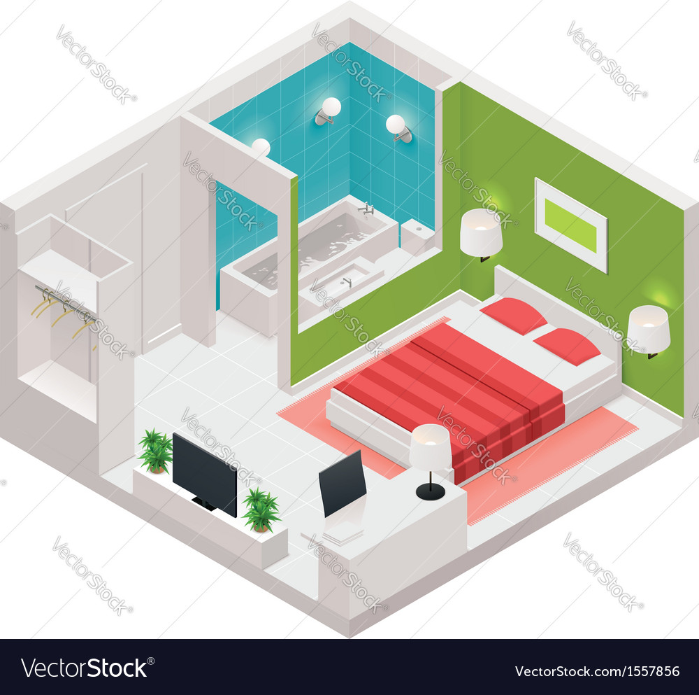 Isometric hotel room icon vector | Price: 1 Credit (USD $1)