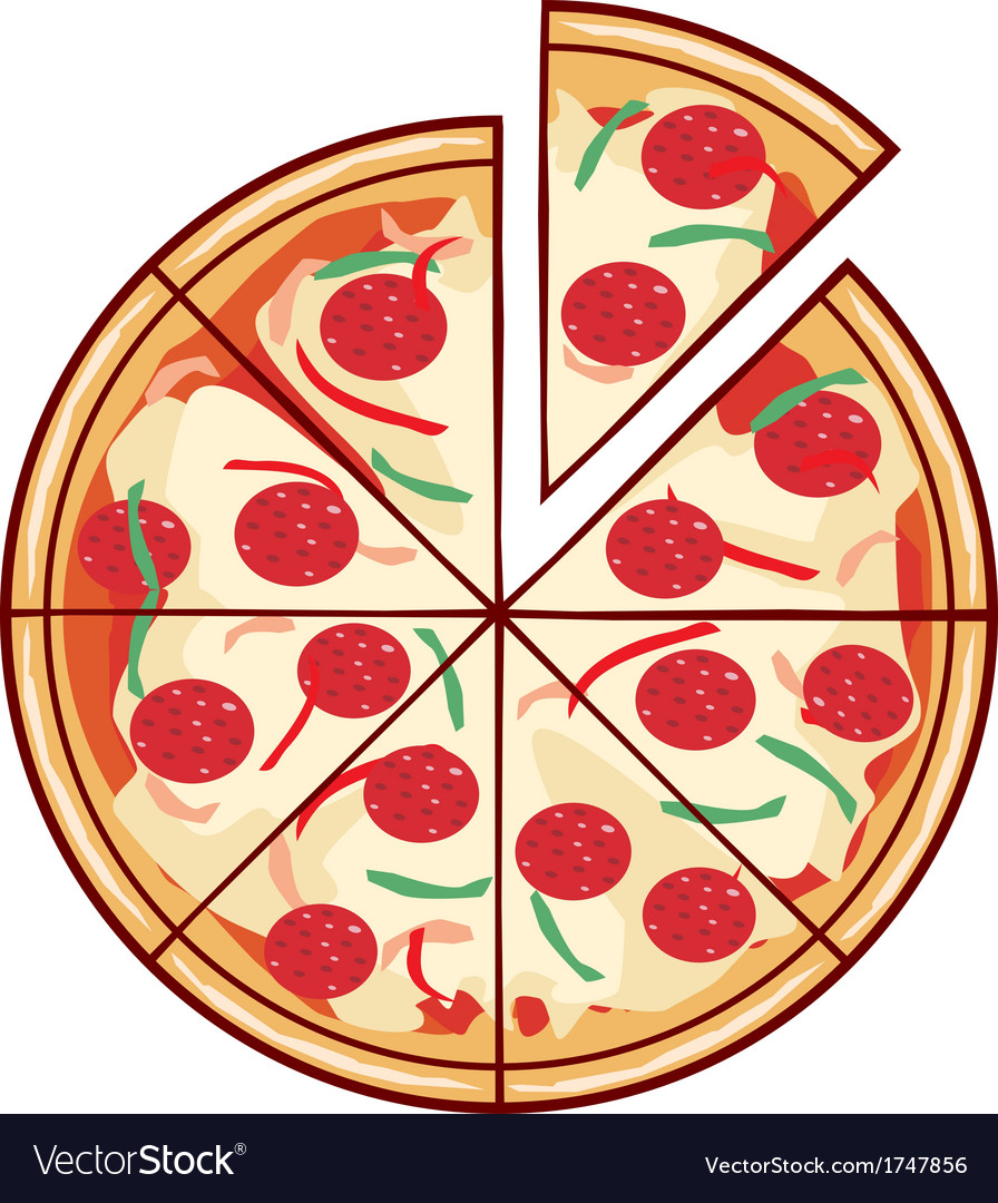 Pizza with a slice vector | Price: 1 Credit (USD $1)