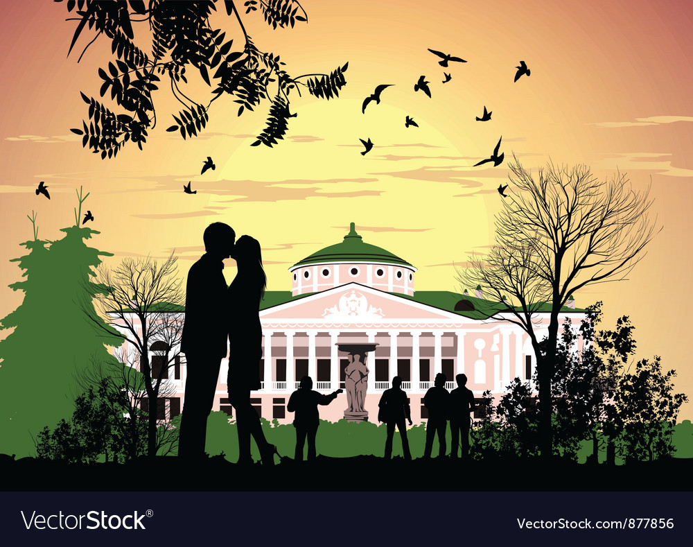 Tourists walk in the park ostankino estate vector | Price: 3 Credit (USD $3)