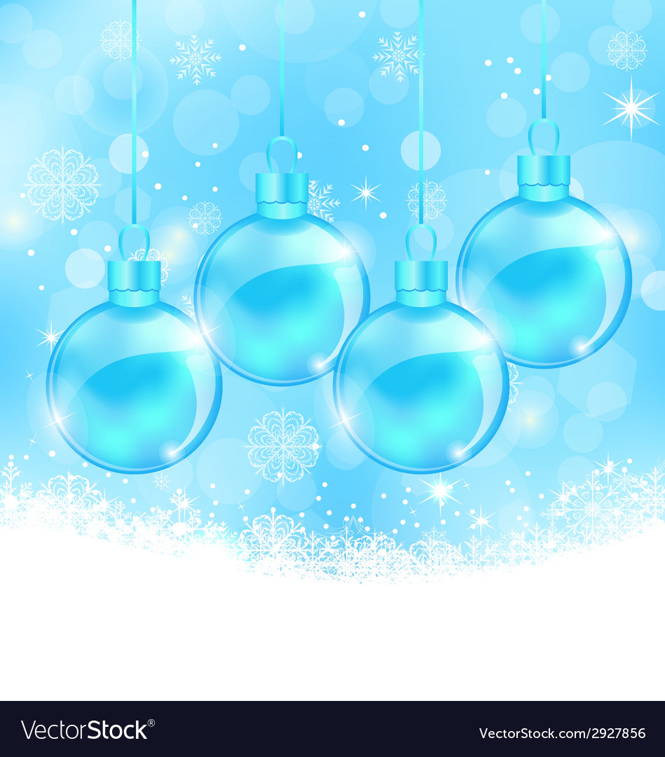 Winter snowflakes background with christmas glass vector | Price: 1 Credit (USD $1)